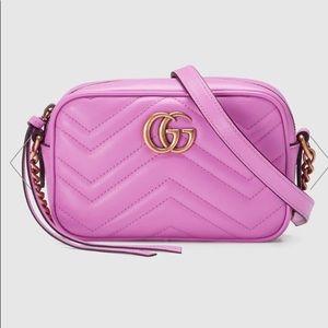 90f5e2cf00d24e Gucci. GUCCI Pink GG Marmont matelassé camera mini bag